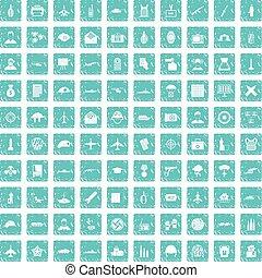 100, militar, periodista, iconos, conjunto, grunge, azul