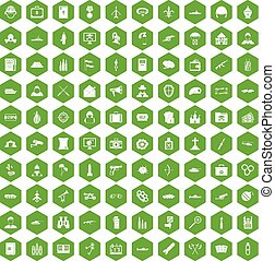 100 military icons hexagon green