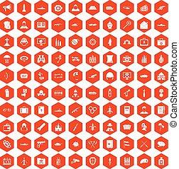 100 military icons hexagon orange