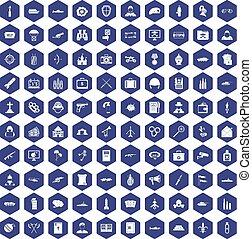 100 military icons hexagon purple