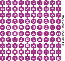 100 military icons hexagon violet