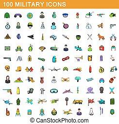 100 military icons set, cartoon style