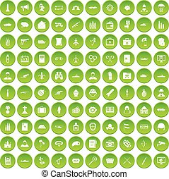 100 military icons set green