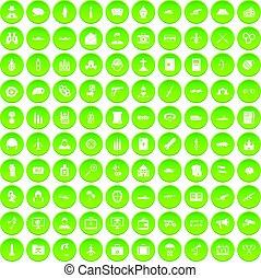 100 military icons set green circle