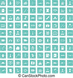 100 military icons set grunge blue