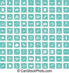 100 military icons set grunge blue