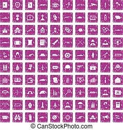 100 military icons set grunge pink