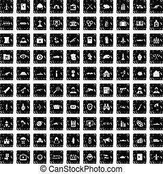 100 military icons set, grunge style