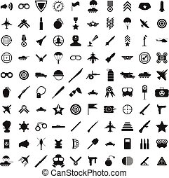 100 military icons set, simple style