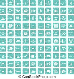 100 military journalist icons set grunge blue