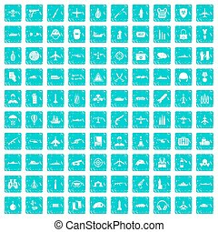 100 military resources icons set grunge blue