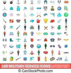 100 military service icons set, cartoon style