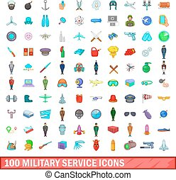 100 military service icons set, cartoon style