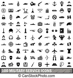 100 military service icons set, simple style