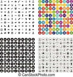 100 military service icons set vector variant