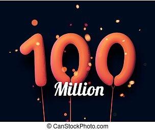 100 million sign orange balloons with threads on black ...