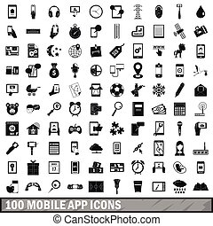 100 mobile app icons set, simple style