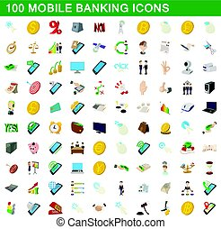100 mobile banking icons set, cartoon style