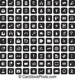 100 mobile icons set black