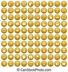 100 mobile icons set gold - 100 mobile icons set in gold...