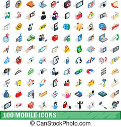 100 mobile icons set, isometric 3d style