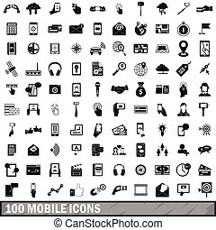 100 mobile icons set, simple style