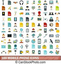 100 mobile phone icons set, flat style