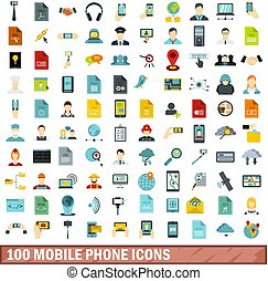 100 mobile phone icons set, flat style
