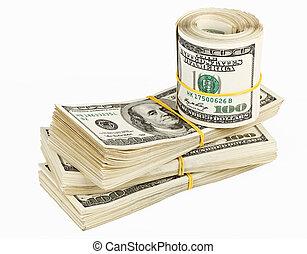 100, molti, ci, banca, fascio, rotolo, dollari, note
