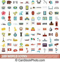 100, mondo, icone, set, appartamento, stile