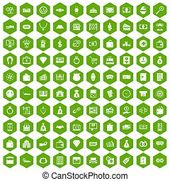 100 money icons hexagon green