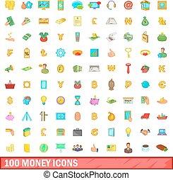 100 money icons set, cartoon style
