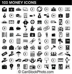 100 money icons set, simple style