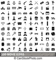 100 movie icons set, simple style