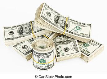 100, muchos, nosotros, banco, lío, rollo, dólares, notas