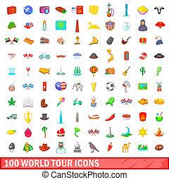 100, mundo, excursão, estilo, caricatura, jogo, ícones