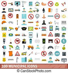 100 municipal icons set, flat style
