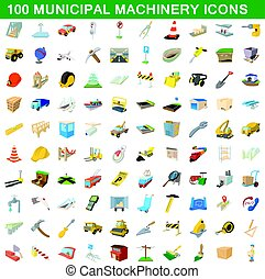 100 municipal machinery icons set, cartoon style
