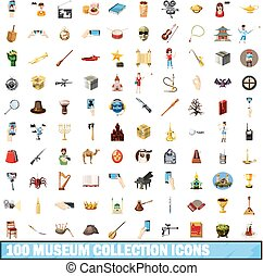 100 museum collection icons set, cartoon style