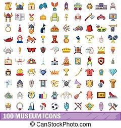 100 museum icons set, cartoon style