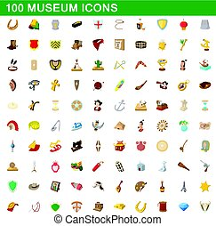 100 museum icons set, cartoon style