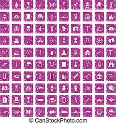 100 museum icons set grunge pink