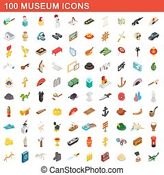 100 museum icons set, isometric 3d style