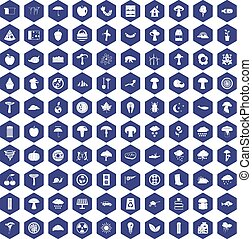 100 mushrooms icons hexagon purple