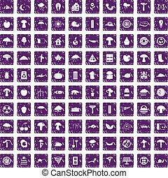 100 mushrooms icons set grunge purple