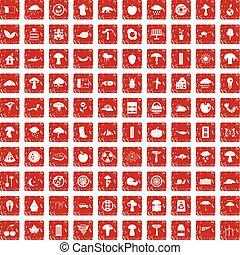 100 mushrooms icons set grunge red