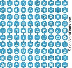 100 music icons set blue