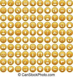 100 music icons set gold