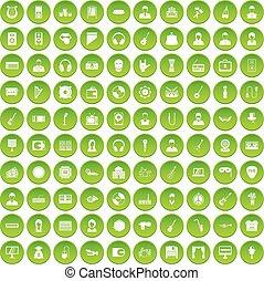 100 music icons set green