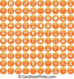 100 music icons set orange